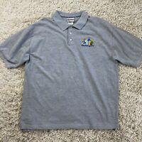 Walt Disney World Men's XL Gray Embroidered Logo Short Sleeve Polo Shirt