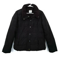 Old Navy Puffer Jacket Womens Size Medium Black Quilted Coat Snap Button