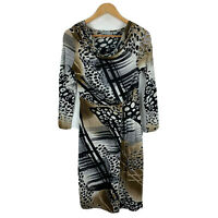 Orientique Womens Dress Size 8 Multicoloured Abstract Long Sleeve Cowl Neck