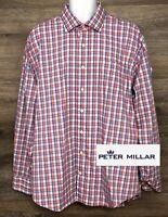 Peter Millar Mens Red White Blue Long Sleeve Button Front Designer Shirt XXL 2XL