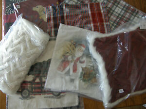 Pottery Barn Various Christmas Pillow Covers-Faux Fur, Santa,Plaid,Button Knit