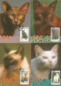 THAILAND – 1995 – CATS STAMP ISSUE – SCOTT # 1617-1620 - SET OF 4 on 4 POSTCARDS