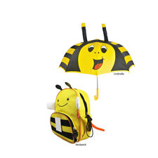 Bee Umbrella Rain Gear with Bumble Kids School Backpack for Children