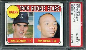 1969 Topps #544 Tiger Rookies Kilkenny/Woods PSA 8 NM-MT
