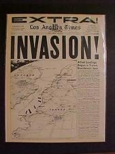 VINTAGE NEWSPAPER HEADLINE~WORLD WAR 2 ARMY LAND GERMAN NAZI D-DAY INVASION WWII
