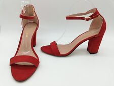 Madden Girl Beella Women Shoes Red Ankle Strap Heels Sz 8.5 M