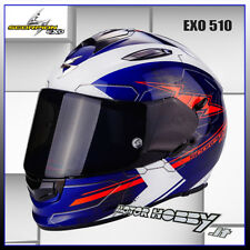 CASCO MOTO STRADA INTEGRALE SCORPION EXO 510 CROSS BLUE WHITE NEON RED TAGLIA M