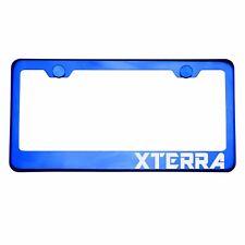 Blue Chrome License Plate Frame XTERRA Laser Etched Metal Screw Cap
