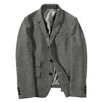 Gray Herringbone Vintage Blazer Suits Men Wool Tweed Business Tailored Tuxedos