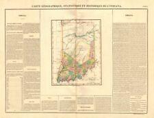 Estado de Indiana Antiguo Mapa. condados. muestra indio Frontera. Buchon 1825
