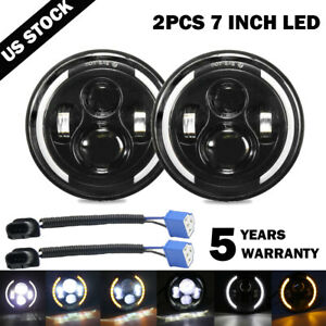 "2X 7""INCH 280W LED Headlight Hi/Lo Halo Ring DRL For Jeep Wrangler CJ JK TJ LJ"