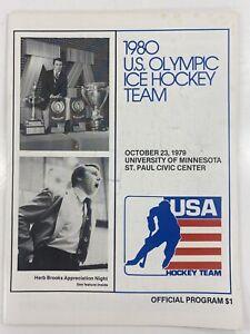 1980 U.S. Olympic Ice Hockey Team Vs University Of Minnesota Official Program