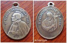 Oude heiligenmedaille met Sint Ignace en Xavierus