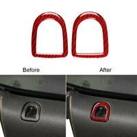 Rot. Kohlefaser Tür Sperren Dekorative Trim Aufkleber Für Ford Mustang 2009-2013