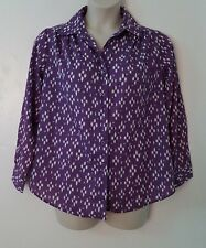 Roaman's Purple White Geometric Print Long Sleeve Button Down Shirt Size Small S