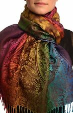 Large Ombre Paisley and Diamond On Brown Pashmina With Tassels (SF002683)