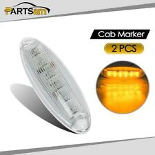 (2) Clear/Amber 6 LED Cab Marker Roof Light Lamp for Freightliner Cascadia Truck