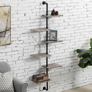 MyGift 6 Tier Wall Mounted Industrial Pipe and Torched Wood Display Shelf Rack