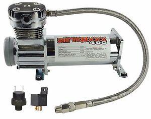 Air Compressor Chrome AirMaxxx 400 For Air Bag Suspension System 150 On 180 Off