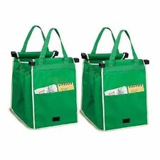 Reusable Shopping Bags Eco Foldable Trolley Tote Grocery Cart Storage - Set of 2