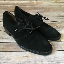 Womens Bally suede leather Shoe Heel Loafer Oxford Lace up Black 38 / 7.5 Italy