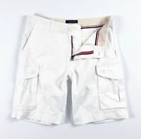 "TOMMY HILFIGER Cargo Shorts Men's White Brushed Twill 10"" Shorts 78E1745-112"
