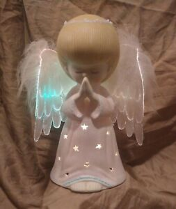 """Light Up Multicolor Fiber Optic Praying Angel Figurine W/ Feathered Wings 8"""""""
