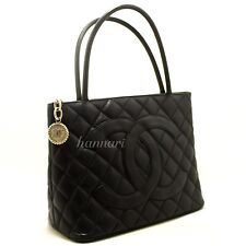 CHANEL Authentic Caviar Medallion Silver Hw Shoulder Bag Black Quilted Tote i20