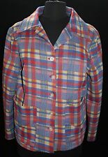 Retro Womens Vtg Polyester Plaid Top Jacket Sz M L Handmade 1970's Hippie