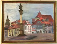 1964 MCM Warsaw Poland Castle Square Original Exhibit Painting Ewa Bajon Framed