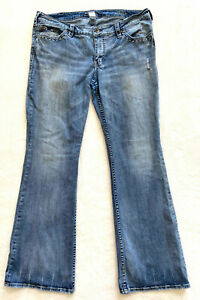 Silver Jeans AIKO Bootcut Distressed Jeans Women's Tag W16 / L33 FITS 38 x 32