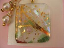 FIONA STUDIO  gold luster lovely Fused dichroic glass Pendant Earring  Set