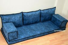 Handmade Floor Sofa Arabic cushions Blue Bohemian Seating  Indoor living room