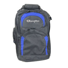 "Champion Luggage Bag Wheeled Backpack Travel Carry Straps 20"" X 15"" Black Blue"