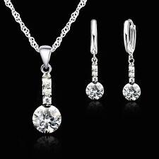 925 Silver Drop Dangle Cubic Zirconia Crystal Necklace & Earring Jewellery Set