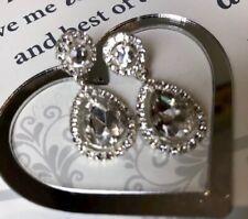 Stunning Sparkling White Glass Wedding Bridal  Formal Pear Drop Earrings