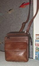Vintage Fossil Brown Leather Shoulder Cross Body Bag~Organizer Messenger Purse