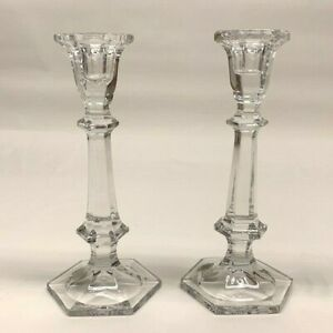 "Lead Crystal 8"" tall Taper Candle Holders - 2- Hexagon Shape top/bottom"