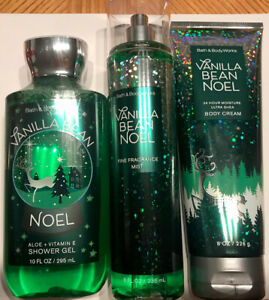 Bath & Body Works Gift Set Vanilla Bean Noel Body Mist, Body Cream, Shower Gel