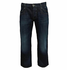 Teddy Smith Men's Riley Straight Leg Relaxed Fit Jeans dark blue denim 34-35/32