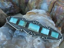Vintage Old Pawn Royston Turquoise Sterling Silver Navajo Pin1960's 1970's