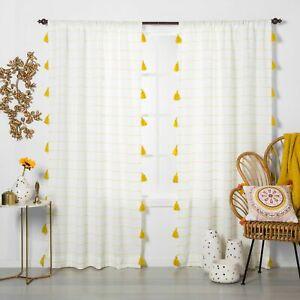 Opalhouse Tassel Trim Light Filtering Curtain Panel Yellow Stripe 1 ONE Panel