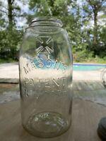 Antique Mason's Cross Patent November 30th 1858 clear Half Gallon Fruit Jar