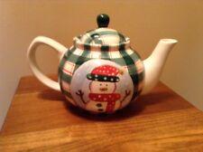 Cooks Bazaar Gourmet Collection green plaid snowman 6 cup teapot