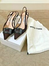 LIGHTLY WORN MANOLO BLAHNIK BROWN Gattanbuck Suede Slingback Heels 39