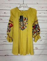 Boutique Women's XL 16 / 18 Yellow Embroidered Spring Tunic Top Blouse NEW TAGS