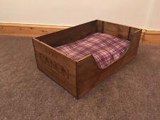Rustic wood cat bed wooden kitten pet basket