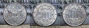 1861 Three Cent Silver 3c AU/BU Rotated Die Error !!