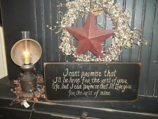 Wood Sign Handmade Rustic Wall Hanging Wood Decor Sign I Can't Promise That I'll