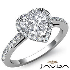 Halo Sidestone Filigree Heart Cut Diamond Engagement Ring GIA H Color SI1 1.45Ct